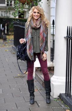 Farkut / jeans, Zara Paita / shirt, Ginatricot Huivi /scarf, Mulberry Laukku / bag, Alexander Wang Saappaat / boots, Zara Takki / coat, Zara