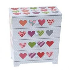 Bobble Art - Jewellery Box with 4 Drawers Multi Heart
