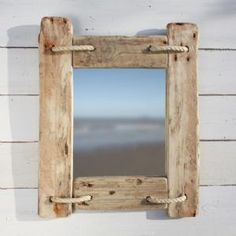 20 Unique Bathroom Mirror Frame Designs Made Of Driftwood What is your dream ba Unique Bathroom Mirrors, Coastal Mirrors, Rustic Mirrors, Wall Mirrors, Decorative Mirrors, Mirror Bedroom, Bathroom Wall, Coastal Decor, Driftwood Frame