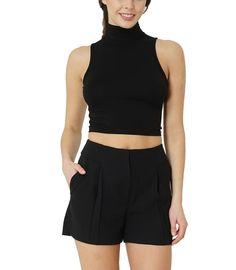c6695bdae3b5be Bodywear Shop Damen Crop Top Mandarin-Kragen Arrow-Ausschnitt bauchfrei  Schwarz. Kefali Cologne · Ladies Shirt Collection