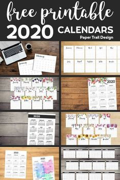 12 Calendar options to print for free including one page calendars, blank, Monday start, school, horizontal and vertical, floral and basic calendars. #papertraildesign #calendar #calendars #2020 #2020calendars #freeprintable #freeprintablecalendars #freecalendars
