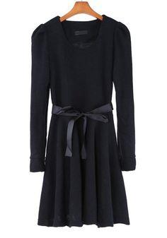 Black Belt Long Sleeve Wrap Thick Knit Dress $26