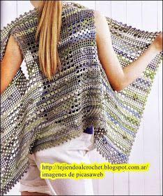Chalecos – Mi Rincon de Crochet : Rectangle sampler-style crochet jacket or bolero. I love the simplicity of this design and armhole placement. -Lee Ann H Ivelise Feito à Mão: Colete Assimétrico Em Crochê. Cardigan Au Crochet, Gilet Crochet, Crochet Coat, Crochet Jacket, Crochet Cardigan, Crochet Scarves, Crochet Shawl, Crochet Clothes, Crochet Stitches