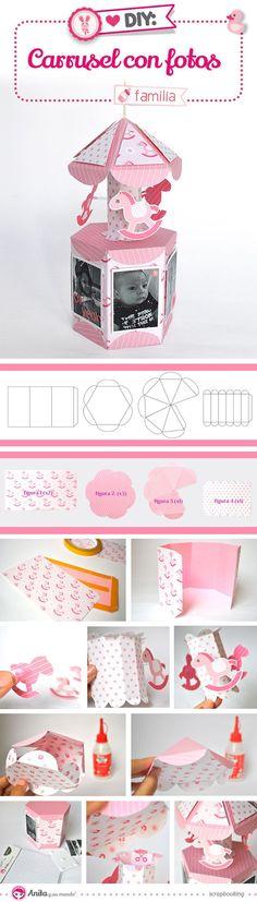 DIY: cómo hacer un mini álbum para bebé de papel con formato carrusel… Más Mais 3d Paper Crafts, Paper Toys, Diy Paper, Diy And Crafts, Diy For Kids, Crafts For Kids, Carousel Party, Ideias Diy, Explosion Box