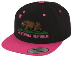 a7ac7750ea1 Amazon.com  Black and Neon Pink Flat Bill California Bear Republic Snapback   Clothing