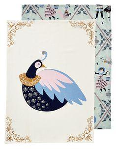 Christmas Tea Towels ~ Partridge ~ Set of 2