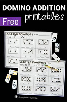 These domino addition printables are a great kindergarten or first grade math center for practicing beginning addition skills!