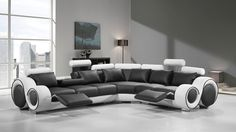 4087 Modern Black and White Leather Sectional Sofa