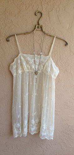 Romantic Ivory vintage lace tunic mini dress beach
