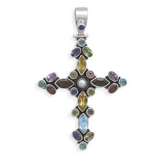 Hinged Multicolor Stone Cross Pendant