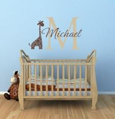 "Name and Initial Vinyl Wall Decals Giraffe Wall Decals Jungle Theme Decals Safari Boy Baby Nursery or Boys Room 22""H x 36""W Wall Art FS264"