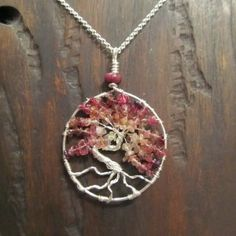 Tree of Life with Pink Tourmaline and silver Parawire.