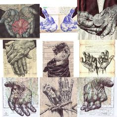 Biro Hands, Mark Powell I like the idea of having colourful biro drawings like the hands in the middle of the top row.!