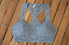 Padded racerback lace bralette blue. If you like our regular lace racerback bralettes you'll love this new padded version!