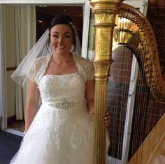 Happy bride with harp music for her wedding drinks reception in Sutton Coldfield, Birmingham Sutton Coldfield, Harp, Corporate Events, Birmingham, One Shoulder Wedding Dress, Reception, Entertaining, Bride, Drinks