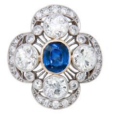 Edwardian Diamond and Sapphire Ring | From a unique collection of vintage cocktail rings at https://www.1stdibs.com/jewelry/rings/cocktail-rings/