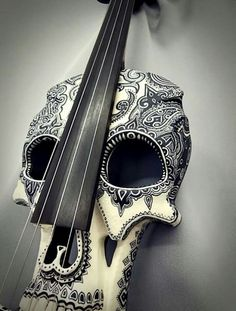 Don't Be Afraid To Learn To Play Guitar! Do you enjoy playing music? Maybe you aren't sure how to play guitar. You can play guitar as long as you're willing to practice and use these tips. Steampunk Accessoires, Art Et Design, Electric Violin, Double Bass, Skull And Bones, Memento Mori, Day Of The Dead, Skull Art, Looks Cool