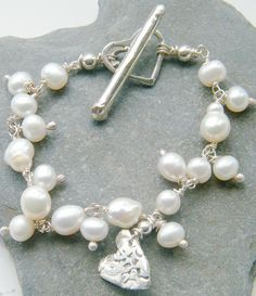 White Pearl Bracelet 925 silver with Heart charm
