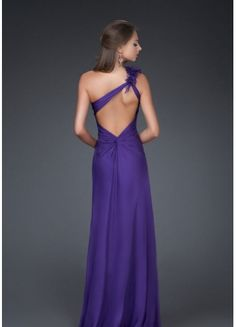 Simple Style A-line One Shoulder Backless Flowers And Ruffles Floor Length Purple Chiffon Prom Dress