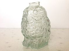Glass Money Bank Wise Old Owl by Libby piggy by DearSouthernOwl