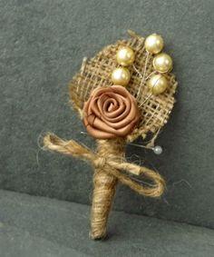 Boutonniere burlap vintage pearls satin rosette by EnysBridal, £5.00