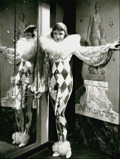 Claudette Colbert as a harlequin     c. 1930