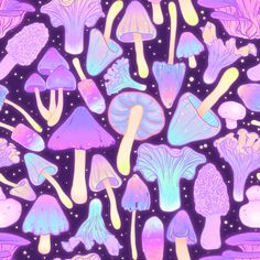 Nighttime Mushroom Hunt Repeatable pattern, kawaii cute spoonflower fabric for d. - Psychedelic, Surreal, Visionary, Abstract and Pop Art - Witchy Wallpaper, Goth Wallpaper, Trippy Wallpaper, Iphone Wallpaper, Fabric Wallpaper, Mushroom Drawing, Mushroom Art, Mushroom Hunting, Witch Aesthetic