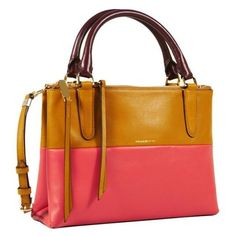 Pre-Owned  Coach tan/loganberry the Mini Borough Leather Colorblock... (€185) ❤ liked on Polyvore featuring bags, messenger bags, neutral, leather crossbody, leather crossbody bag, crossbody bags, leather cross body bags and tan leather messenger bag
