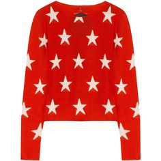 Banjo & Matilda Star-intarsia cashmere sweater ($196) ❤ liked on Polyvore featuring tops, sweaters, shirts, jumpers, red, shirt tops, red star shirt, star sweaters, red sweater and red top