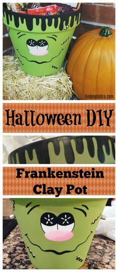 Halloween DIY Frankenstein Clay Pot For Treats, Booing your neighbor or Halloween decorations! Easy Halloween Food, Homemade Halloween, Halloween Activities, Halloween Projects, Holidays Halloween, Halloween Treats, Halloween Decorations, Halloween Party, Scary Halloween