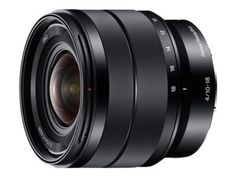 Sony SEL1018 10-18mm Wide-Angle Zoom Lens - $ 848.00     FEATURED  Sony SEL1018 10-18mm Wide-Angle Zoom Lens   10-18 mm super wide-angle zoom lens with a maximum aperture of F4 Minimum focal length of 10 mm (15 mm in 35 mm-camera equivalency) Superbly detailed images Built-in OSS image stabilization (Optical SteadyShot)  Super wide-angle...