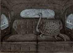 'What is a Monster? Ostrich in Car' by Domenico Gnoli, 1967, from Fundación Yannick y Ben Jakober Collection, Malllorca, Spain