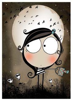 Ilustraciones - Moon - hecho a mano por lacajadepintura en DaWanda