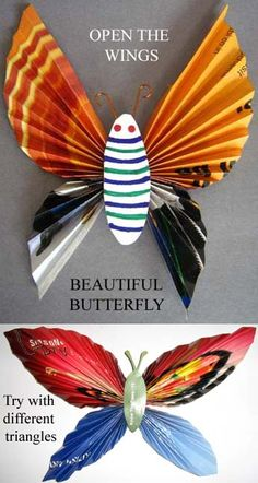 triangle paper butterfly