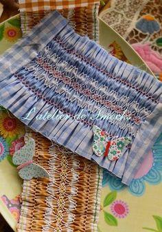 "My original counterchange smocking design named ""Le Papillons""(Butterflies) スモッキング刺繍 L'atelier de Smocks"