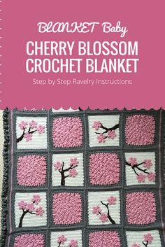 Cherry Blossom Crochet Blanket
