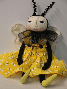 Bumble Bee Folk Art Doll Handmade Doll by MorningMistDesigns