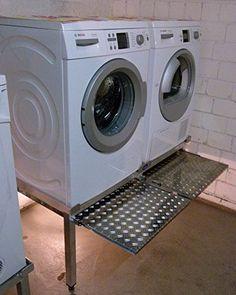 Premium Waschmaschinen Untergestell mit 2 einzelnen Teleskop-Auszügen für Wäschekörbe / Verstärkte Aluminium - Ausführung / Teleskop-Auszüge rappelfrei / / rostfrei / Unterbau für 2 Maschinen Trockner und Waschmaschine /