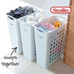 Howards Storage World | White Sorting Hamper snaps together. Includes adhesive label #theorganisedhousewife Home Organisation, Laundry Room Organization, Laundry Room Design, Laundry Rooms, Laundry Sorter Hamper, Laundry Basket Dresser, Laundry Baskets, Laundry Sorting, Howard Storage