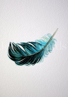 Floating Blue Feather - Nightly Study 428 - Original Watercolor