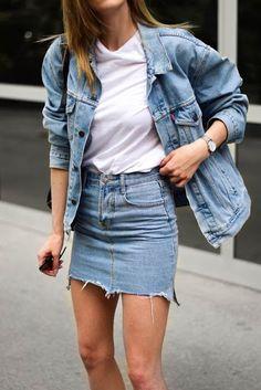 Total look jean blouson jean + jupe en jean Fashion Mode, Minimal Fashion, Denim Fashion, Fashion Outfits, Feminine Fashion, Modest Fashion, Trendy Fashion, Fashion Ideas, Fashion Trends
