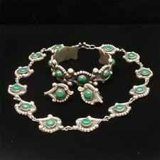 Sterling Silver Necklace Cuff Bracelet Earrings Set Rancho Alegre Taxco Mexico