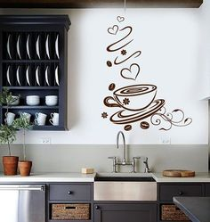 Wall Vinyl Decal Coffee Shop Cup Kitchen Art Decoration Stickers (ig3084)