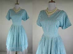 Vintage 1950s Blue White Check Gingham Embroidered Cotton Day Dress L