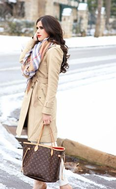 MARCH 2, 2015 A TRANSITIONAL TRENCH W/ THE CLASSICS... - Similar trench coats HERE & HERE | DENIM: Loft (craving these) | HEELS: Christian Louboutin (almost identical and under $100 here) | SCARF: old (similar style) | BAG: Louis Vuitton (similar style) | SUNGLASSES: Karen Walker (LOVE these for under $40) | WATCH: Michael Kors | BRACELET: David Yurman | EARRINGS: Tory Burch (I have been wearing these 24/7) | LIPS: Heatwave | RING: David Yurman
