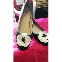 Black Leather FlowerToes Flats - Classic Elements Black leather flats with a cream petal flower embellishment at each toe for a cute, classic look. A comfy black classic flat perfect for formal and office wear. CLASSIC ELEMENTS  Shoes Flats & Loafers