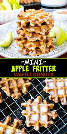 Mini Apple Fritter Waffle Donuts - these little homemade waffle donuts are load., Apple Fritter Waffle Donuts - these little homemade waffle donuts are loaded with apples and dunked in a sweet glaze. Mini Waffle Recipe, Waffle Maker Recipes, Donut Recipes, Brunch Recipes, Breakfast Recipes, Apple Fritter Recipes, Healthy Recipes, Sandwich Maker Recipes, Breakfast Appetizers