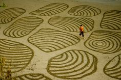 """Earth Scape Art by Andres Amador  - beautiful patterns/""""carvings"""" in the sand."""