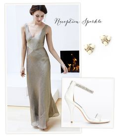 3745048e3b7c9 Gold V-Neck Gown for your reception by http   www.anntaylor