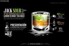 Jack Daniel's Drinks by Abraham García Sánchez, via Behance Bebidas Jack Daniels, Jack Daniels Cocktails, Whiskey Drinks, Scotch Whiskey, Jack Daniels Whiskey, Bourbon Whiskey, Bar Drinks, Alcoholic Drinks, Beverages
